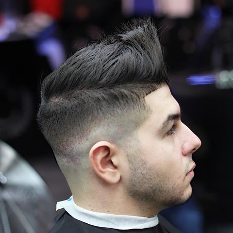 High Fade with Hard Part and Quiff