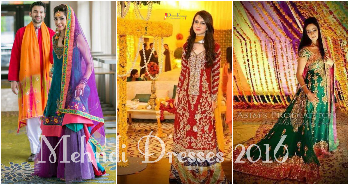 latest bridal mehndi dresses in pakistan season 2016