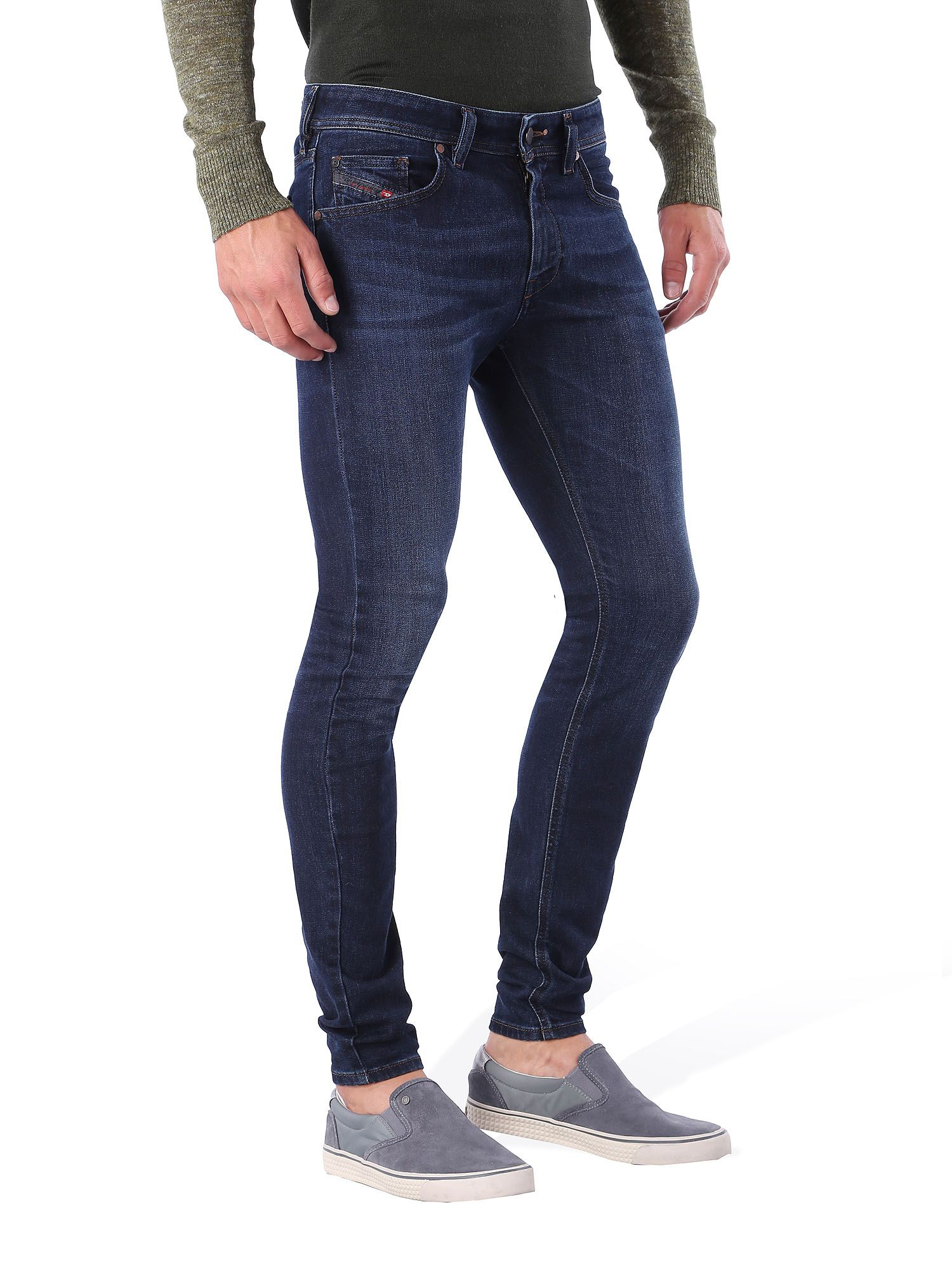Well – you can probably guess from the definition of skinny jeans: jeans which are EXTREMELY tight all the way from the waist to the ankles. Their build involves a lowering of the crotch area – which makes your legs appear shorter than they are.