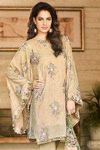 BEIGE 3 PC EMBROIDERED TRENCIA SATIN SILK DRESS 6000