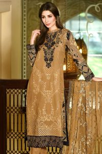 BROWN 3 PC PREMIUM EMBROIDERED CHIFFON DRESS 7500