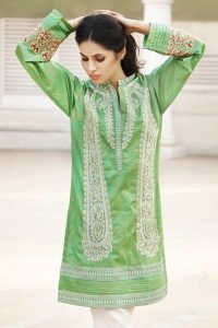 GREEN 1 PC EMBROIDERED LAWN SINGLE