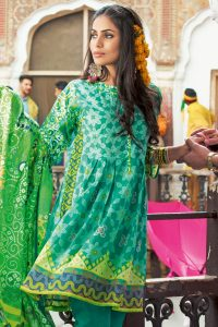 GREEN 3 PC PRINTED LAWN DRESS