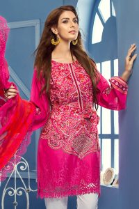 HOT PINK 3 PC EMBROIDERED CHANTILLY DE LACE DRESS 6500