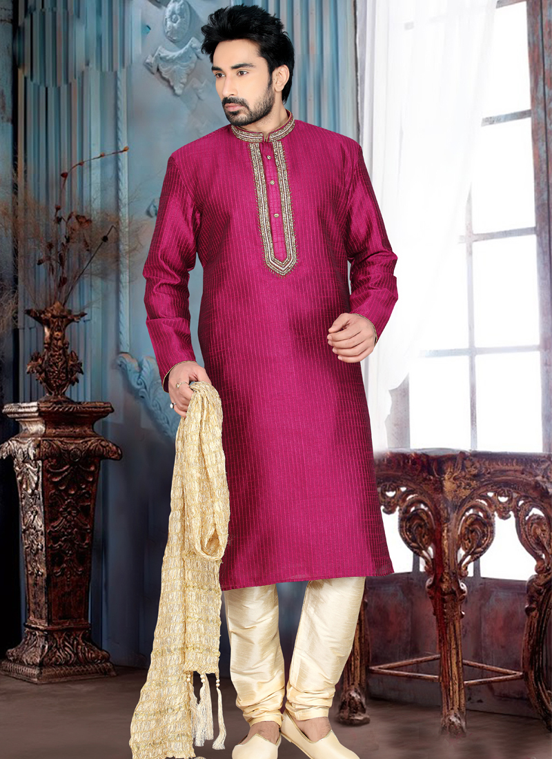 Magenta Colour Wedding Kurta - Western Style Dresses For Wedding Guests
