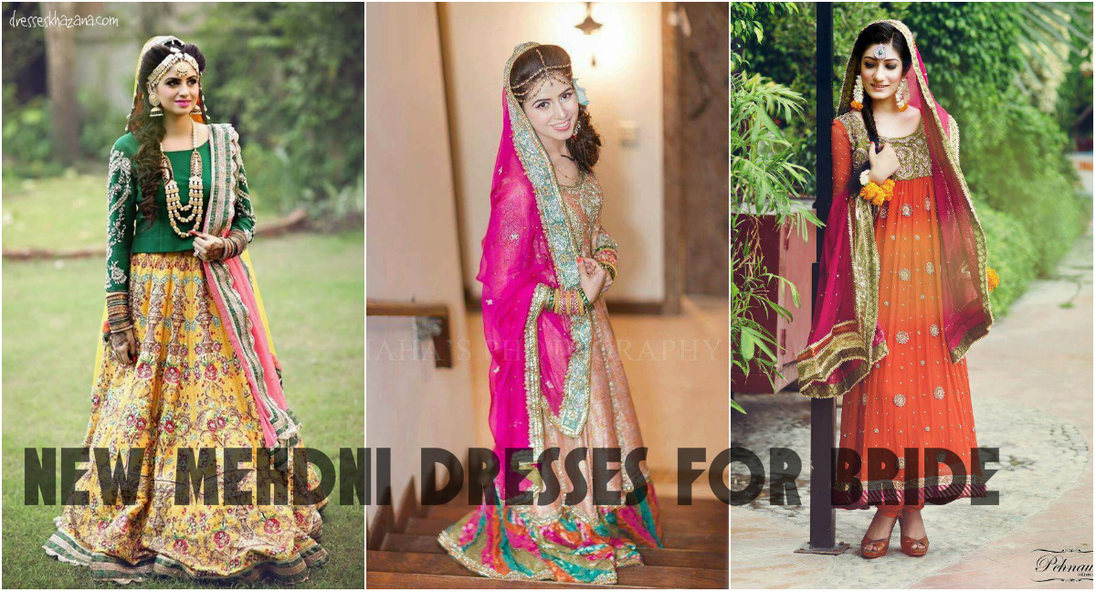 New Mehndi Dresses 2017 for Bride by Pakistani Designers