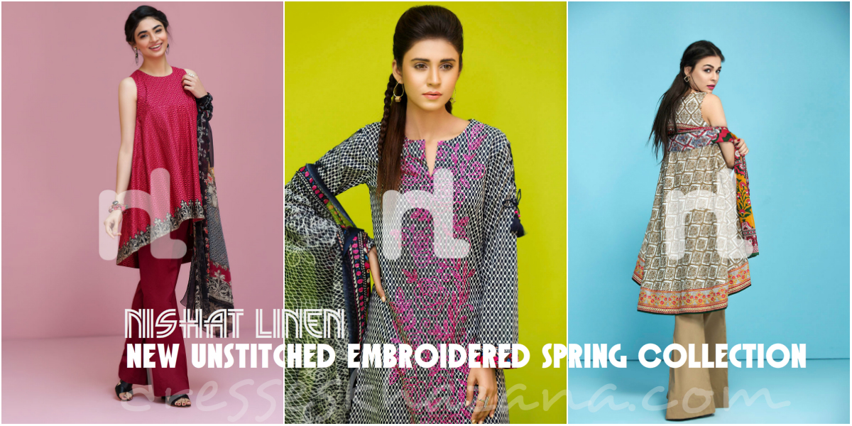 Spring/Summer Clothes 2017 : Nishat Linen New Unstitched Embroidered