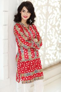 RED 1 PC PRINTED LAWN SINGLE