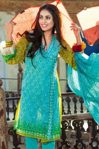 TURQUOISE 3 PC PRINTED LAWN DRESS