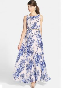 White blue floral printed maxi dress