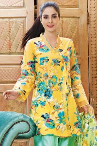 YELLOW 1 PC PRINTED LAWN SINGLE