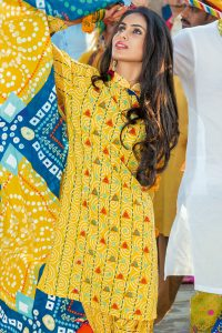 YELLOW 3 PC PRINTED LAWN DRESS