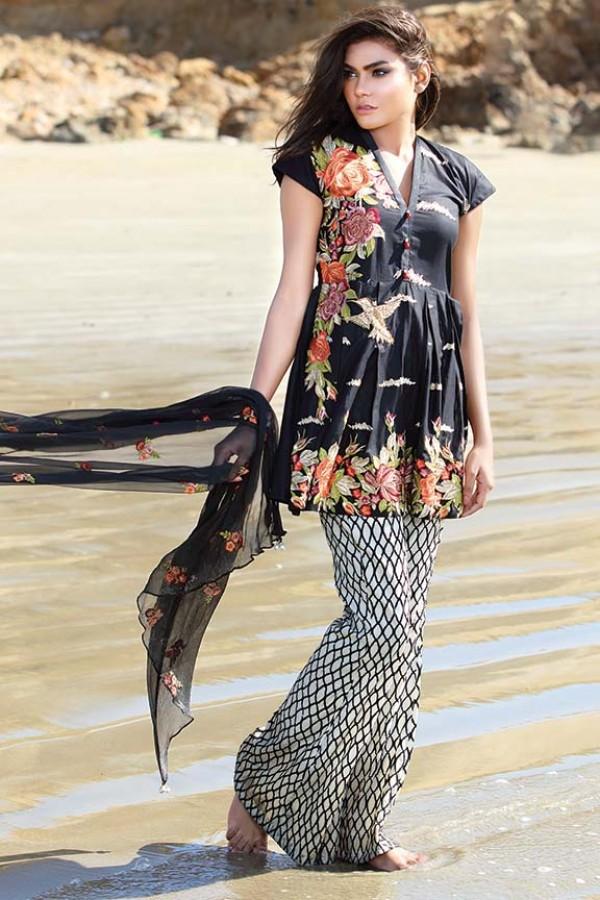 Black Printed Summer Dress for girls
