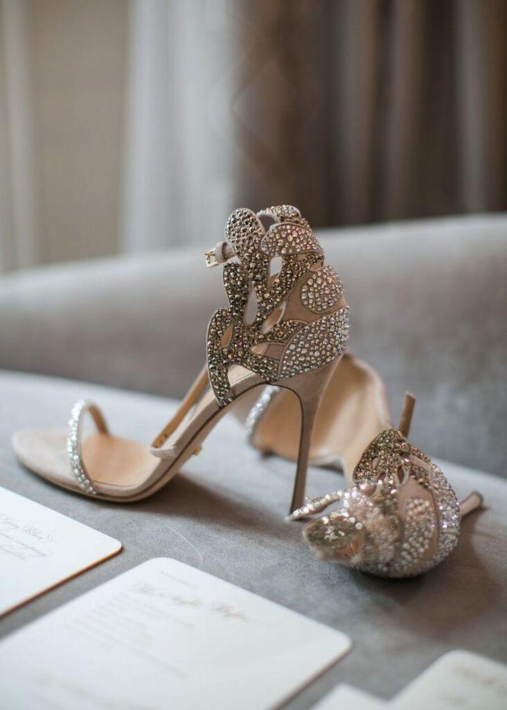 Blue heels with rhinestones
