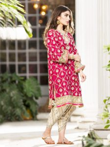 Bright Pink Kurta with Golden Embellishments Paired with Golden Tulip Pants