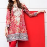 Khaadi Red Lawn Suit