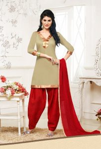 New Patiala Salwar Kameez in Red