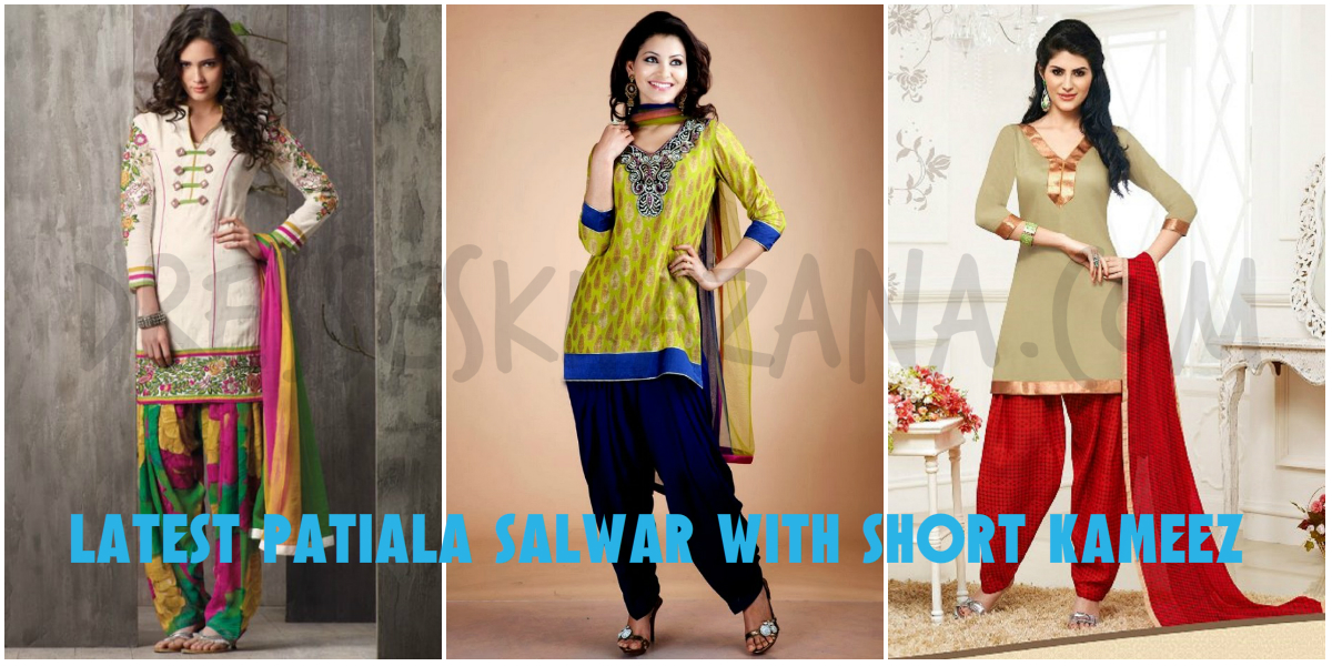 Short Shirt Design 2018:  Latest Patiala Suit with Short Kameez Designsrh:dresseskhazana.com,Design