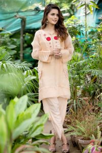 Peach Embroidered Tunic With Tulip Pant
