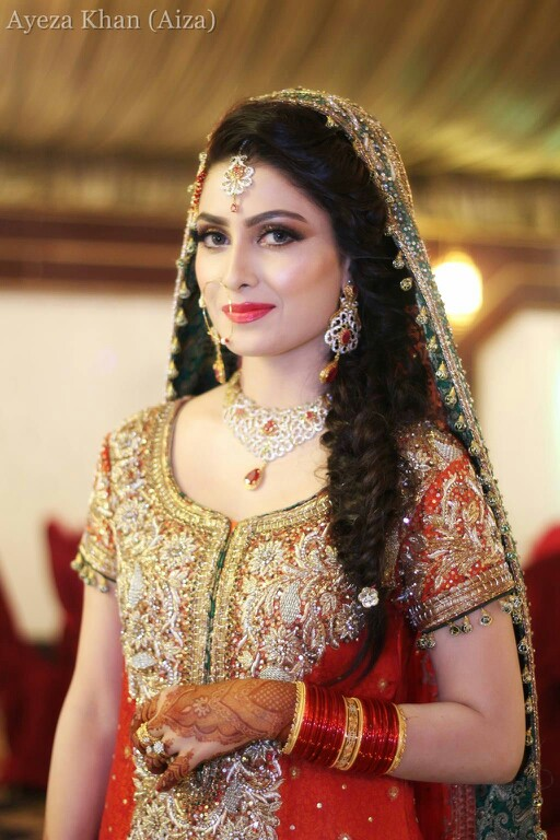 Aiza Khan Hairstyle on Wedding