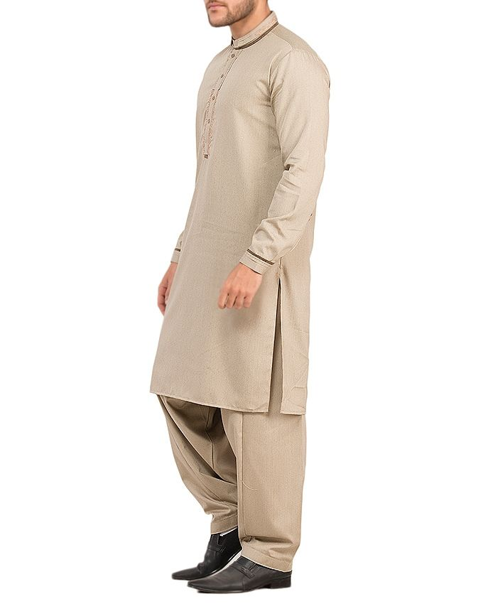 Almirah Beige Polyster Viscose Kurta Shalwar For Men