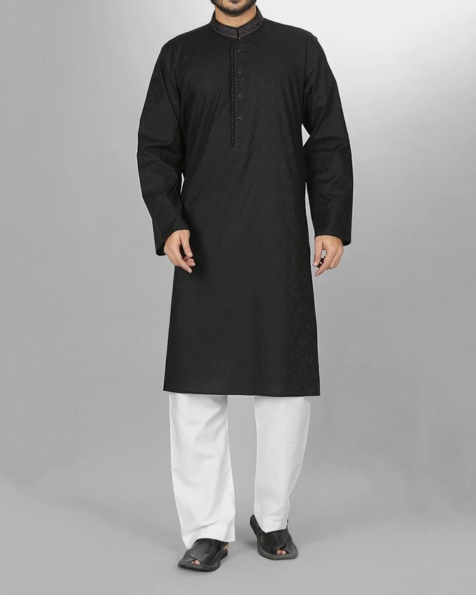 Almirah Black Cotton Jacquard Executive Kurta Shalwar for Men