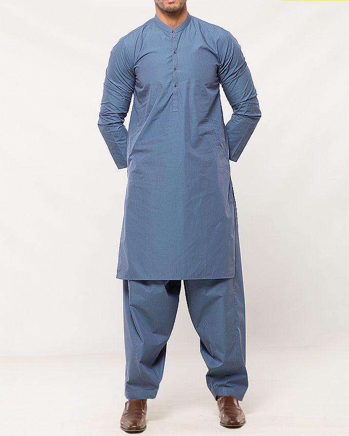 Almirah Blue Cotton Executive Kurta Shalwar fit