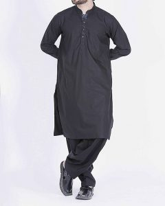 Black Cotton Dress for Men