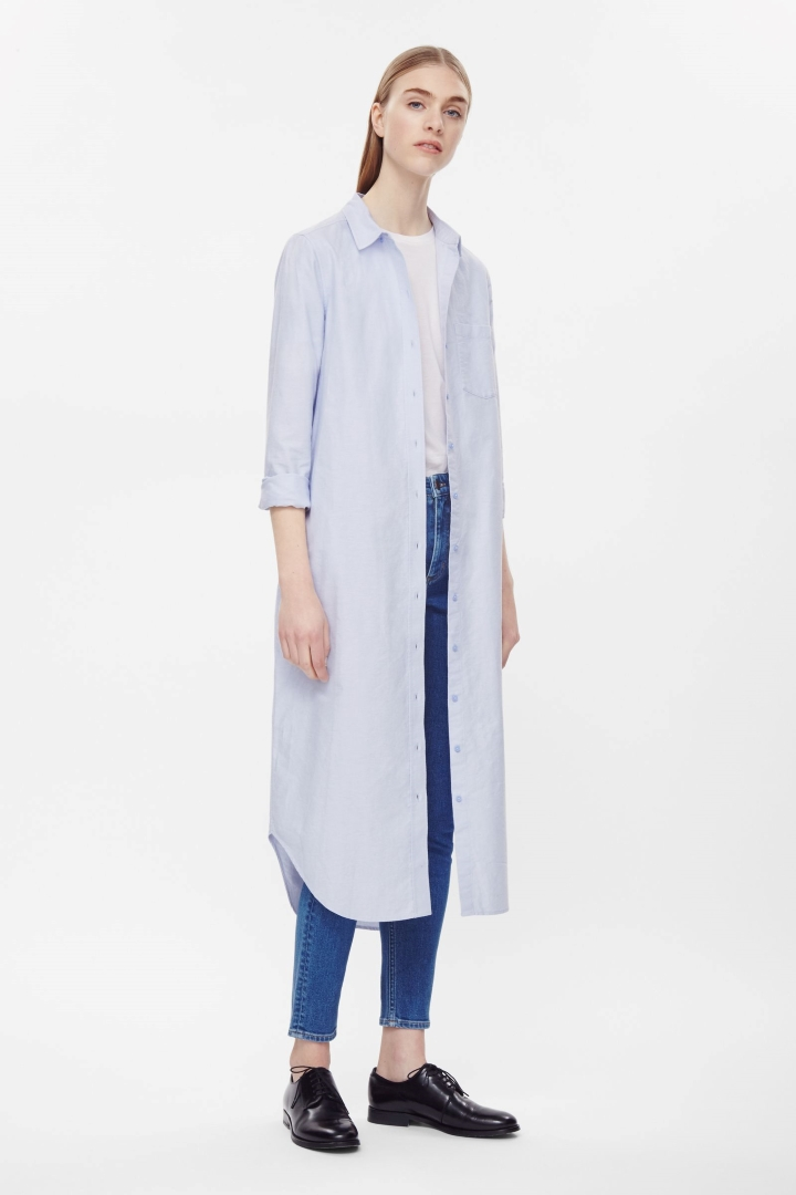 Long shirt dresses 2018 fashion long front open double shirts dress Fashion new style clothes