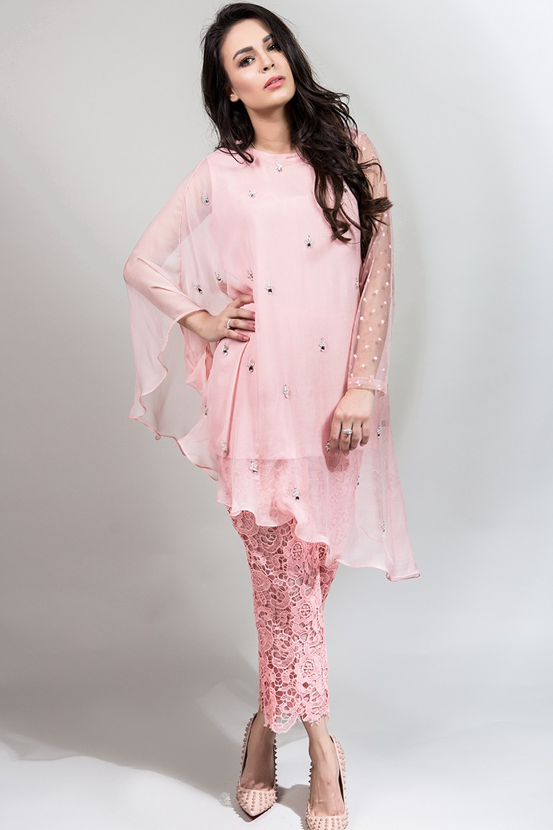 light pink suit for eid