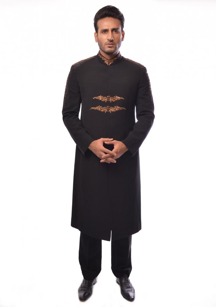 Aamir Adnan Black suiting straight cut sherwani 2017 20k