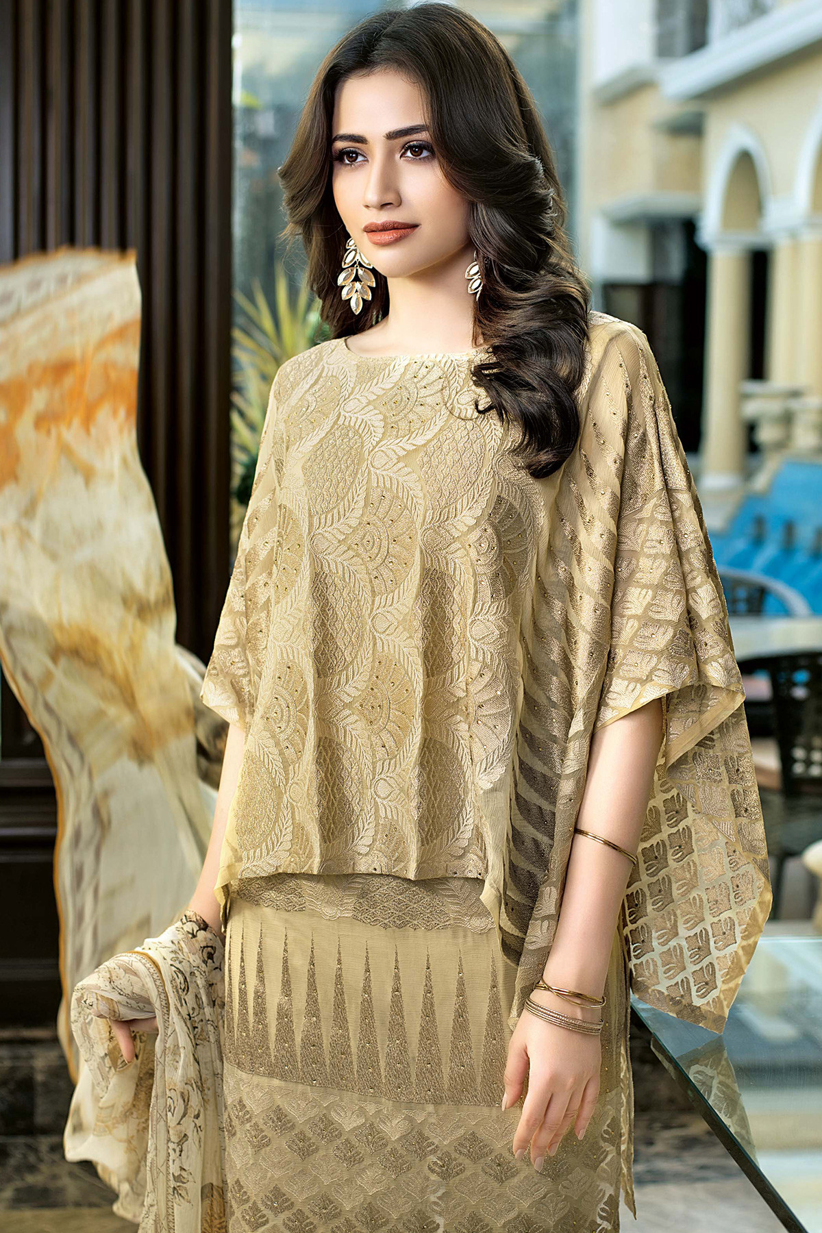 BEIGE 3 PC EMBROIDERED SILK CHIFFON