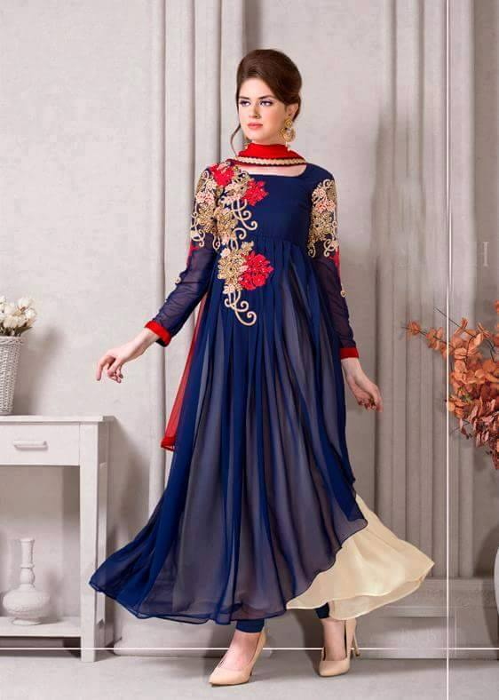 Blue Long Frock Designs 2017 for Party