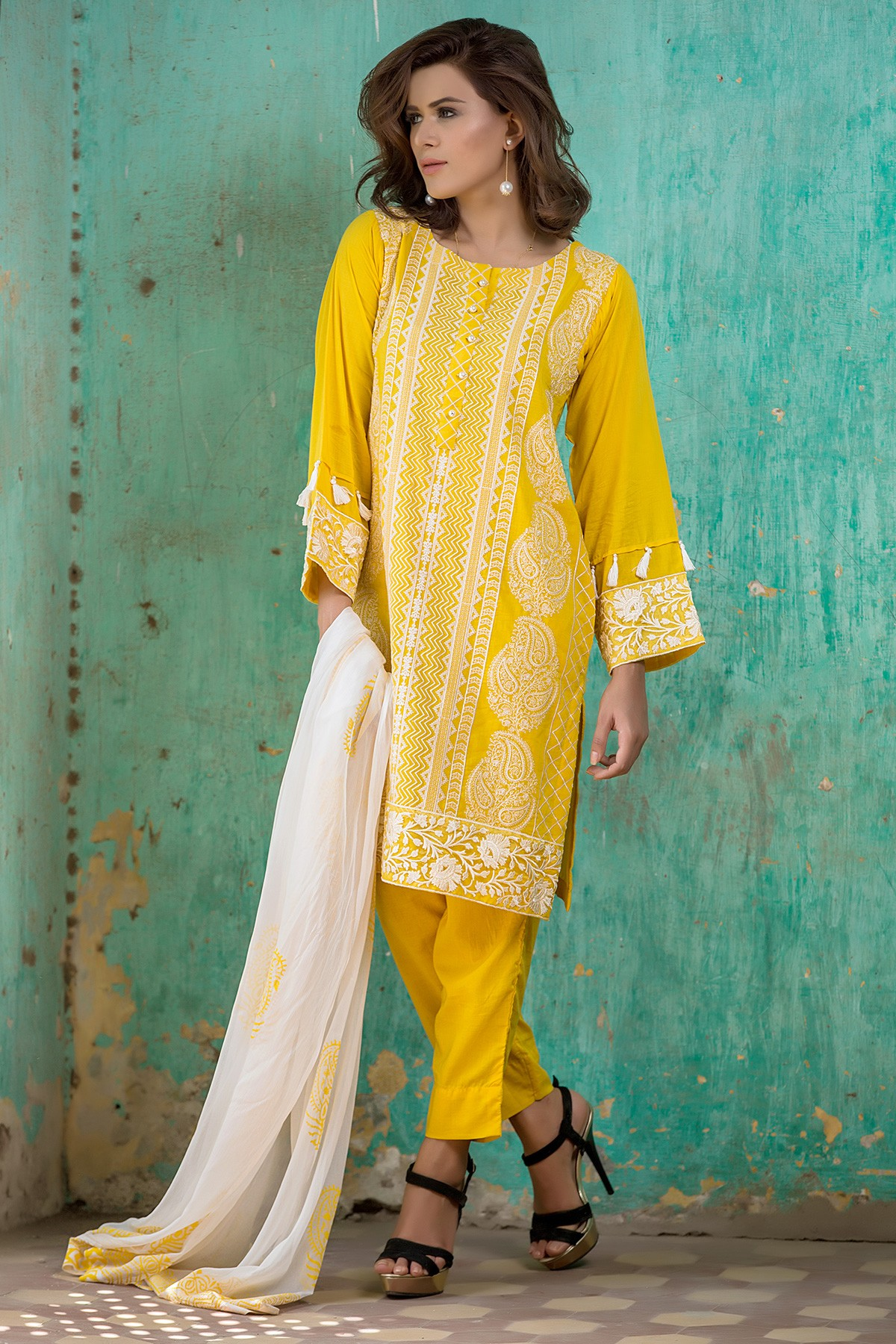 EMBROIDERED SHIRT WITH TROUSER &YELLOW CHIFFON DUPATTA