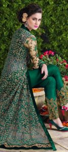 Green color dress for party wear 2017