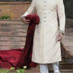 JJ Off white zari jamawar fabric stitched Sherwani 2017 55k