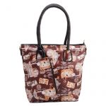 Leather Floral Handbag for Women - Brown