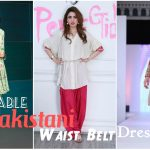 Pakistani Waist Belt Dresses Designs for Women Formal Wear 2017