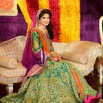 Pakistani mehndi dress for girls 2017