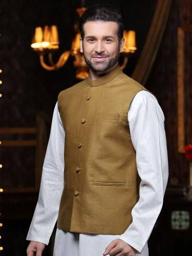 Waistcoat with kurta for party dress 2017