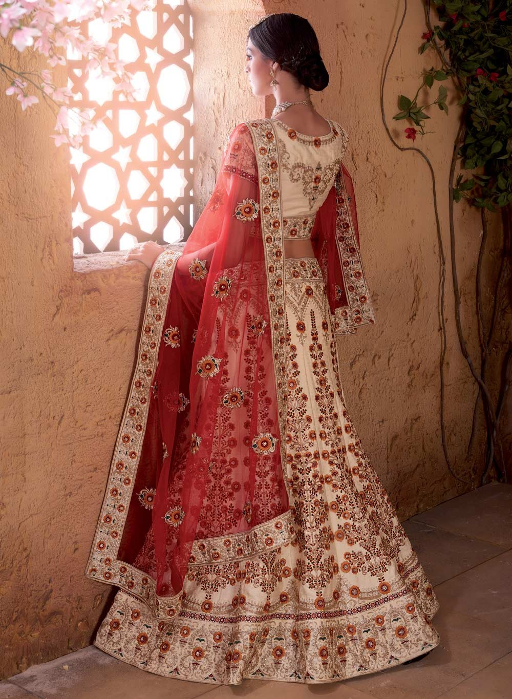 floral embroidered indian bridal wear lengha 2017
