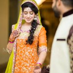 orange color dress for mehndi day