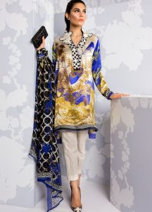 printed silk 3 piece unstitch suits with embroidered motifs