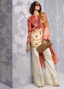 printed silk 3 piece unstitch suits with embroidered motifs for girls