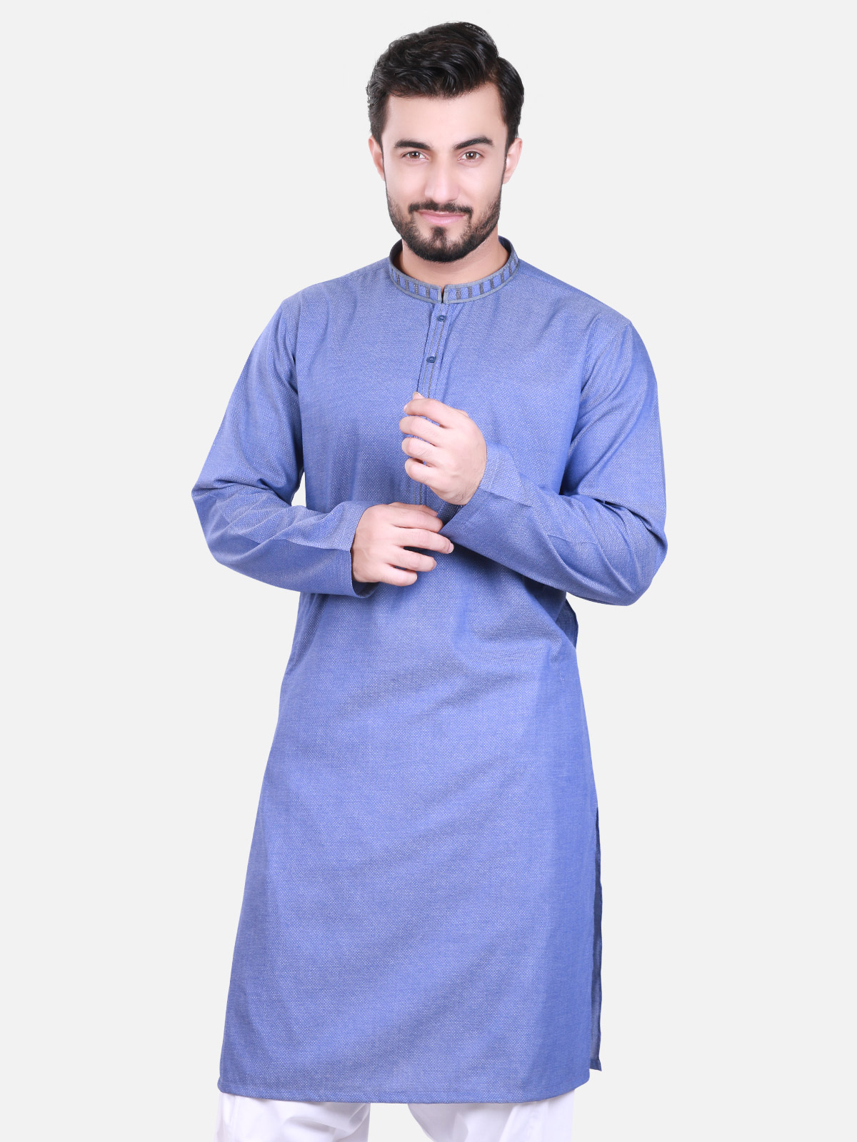 Blue men's kurta designs 2017