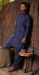 Blue new designs of summer kurta for men 2017