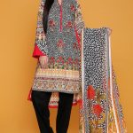 EMBROIDERED SHIRT WITH PRINTED DUPATTA