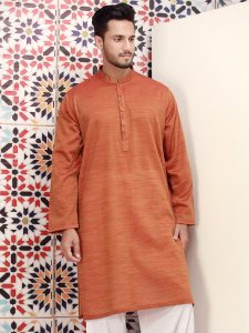 Orange color sumer kurta for men 2017