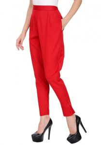 Red Color cigarette trousers for Girls 2017