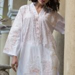 WHITE EMBROIDERED LAWN SHIRT Gul